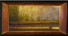 Wildlife Marsh HUGE Sign Painting REALISM ART Sale BIRD Museum Quality Painting Impressionism Art