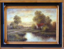 Traditional Village Texture Landscape Framed Acrylic Dealer Museum Quality Painting Impressionism Art
