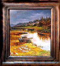 Water Boat Scene Detailed SIGNED Painting Canvas Realism Heavy Texture Original Landscape Scenic