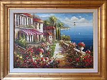 European Scenic Landscape Water Flower Detail Texture Frame Museum Quality Painting Impressionism Art