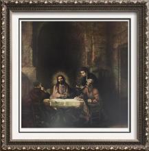Rembrandt Christ at Emmaus c.1648 Fine Art Print Signed in Plate