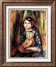 Pierre Auguste Renoir Child with Teddy Bear c.1911 Fine Art Print Signed in Plate