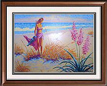 Colorful Serigraph Ltd Ed Large Behrens Style Beach Scene
