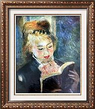 Pierre Auguste Renoir Girl Reading c.1876 Fine Art Print Signed in Plate
