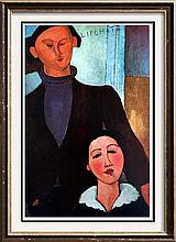 Amedeo Modigliani Jacques Lipchitz and His Wife c.1916-17 Fine Art Print Signed in Plate