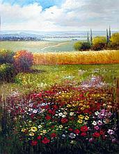 Colorful Floral Landscape Texture Italian Original RARE ART Museum Quality Painting Impressionism Art