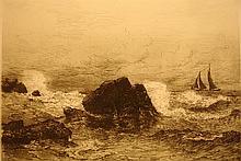 Waves Beating Rocks with Sailboat