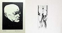 Set of 2 Lithograph By Leonard Baskin