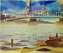 Double sided work- Watercolor bridge Scene