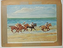Group of Two Lots- Equestrian Scene and Landscape