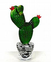 A hand made designer art glass cactus sculpture