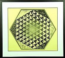 A VINTAGE PRINT BY MC ESCHER, SIZE: 49CM X 57CM