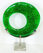 A modern design resin and glass sculpture