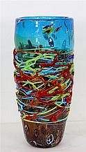 A hand made designer art glass vase sculpture