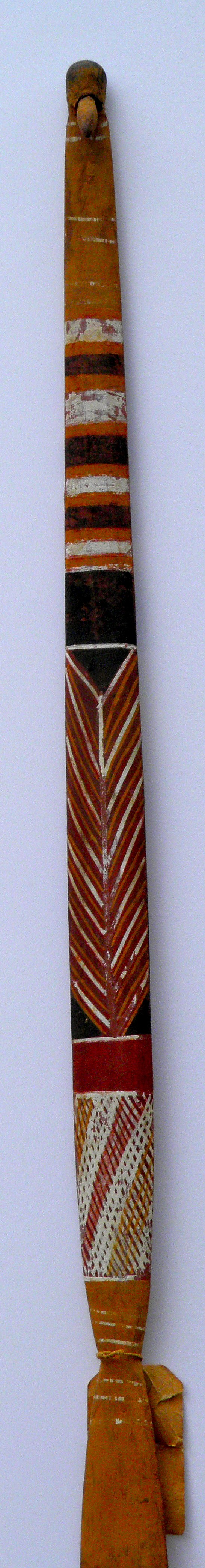 ARNHEM LAND WOOMERA (SPEAR-THROWER), CROSS HATCH AND BANDING
