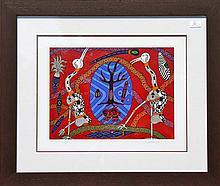 A framed Biggi Billa limited edition silkscreen (out of 50)