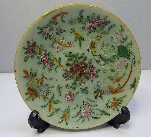 A 19th Century celadon dish, diameter 15cms