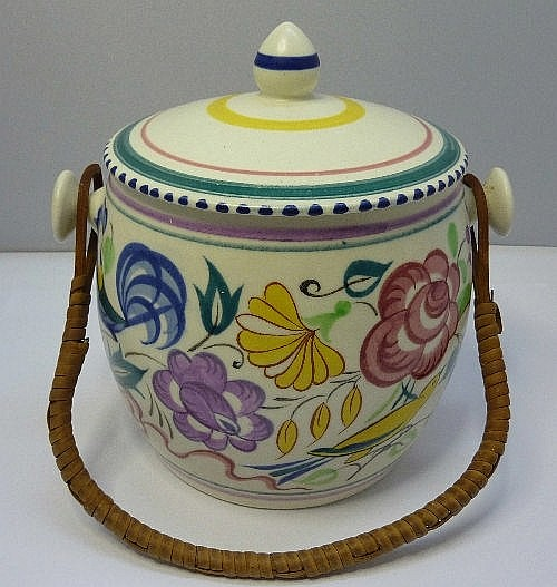 A Poole LE pattern biscuit barrel, height 17cms