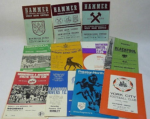 Eleven 1960's and 70's football programmes