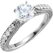 Platinum Cubic Zirconia & 3/8 CTW Diamond Sculptural Engagement Ring Size 7