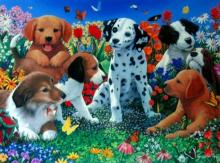 Charles Lynn Bragg Puppies Garden Hand Signed Limited Edition Giclee