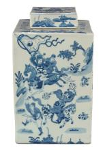Blue & White Ceramic Jar W/Lid