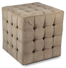 Canvas/Leather Tufted Stool
