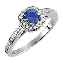 14kt White Tanzanite & 1/3 CTW Diamond Engagement Ring