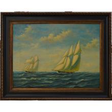 Tall Ships -framed Oil