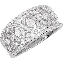 Sterling Silver Cubic Zirconia Anniversary Band Size 8