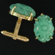 One of a Kind-Natural Green Jade Cufflink