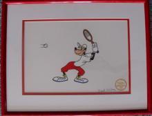Disney Goofy Tennis Hand Signed By Dale Oliver Sericel Art Cel