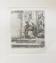 Rembrandt The Return Of The Prodigal Son Plate Signed Etching By Amand Durand