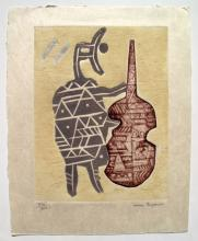 Max Papart Le Violoncelliste Hand Signed Limited Edition Etching On Japon Paper