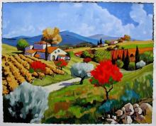 Joanny Pear Trees In The Fall Hand Signed Limited Edition Giclee