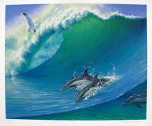 Charles Lynn Bragg Swimming Dolphins Hand Signed Limited Edition Giclee