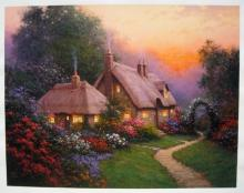Sergon Heather?s Cottage Hand Signed Serigraph On Canvas