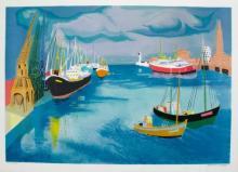 Georges Lambert Le Port En Fete Limited Edition Hand Signed Lithograph