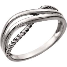 14kt White Crossover Rope Ring