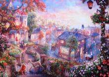 Thomas Kinkade Lady And The Tramp Facsimile Signed Giclee On Canvas -ready To Hang