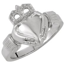 10kt White 14.5x10.5mm Ladies Claddagh Ring