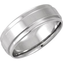 14kt White 7.5mm Grooved Flat Edge Comfort-Fit Band Size 11.5