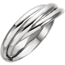 14kt White & Yellow 2.5mm 3-Band Rolling Ring Size 8
