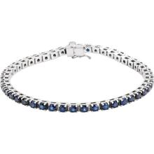 14kt White Blue Sapphire Line Bracelet