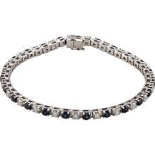 14kt White Blue Sapphire & 2 3/8 CTW Diamond Bracelet