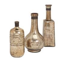 Ari Mercury Glass Bottles - Set of 3