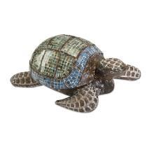 Talulah Carved Wood Mosaic Turtle