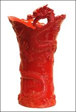 CHINESE DRAGON LARGE VASE (RED)