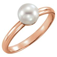 14kt Rose 6.5-7mm Freshwater Cultured Pearl Ring