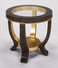 End Table With Glass Dia.26x27